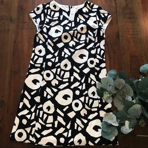 LOFT Abstract Patterned Dress in Navy and White